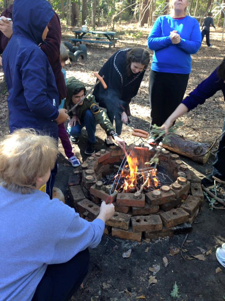 Sometimes, we build a fire with the kids during cool weather.